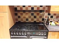 Rangemaster 110 double oven and Hood in Black