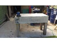 work bench with vice
