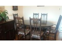 ERCOL dining table and 6 chaires
