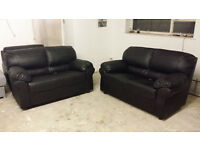 NEW 2+2 Seater Sofa Suite in Black Leather Free Local Delivery