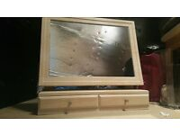 Dressing table swing mirror with two make-up and jewellery drawers, maple, brand new