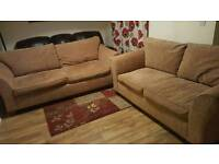 3 seater and 2 seater beige sofas