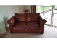 Laura Ashley, Burgess 2 seater Saddle Leather sofas (1 x large, 1 x small)