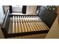 King Size 6ft Dark Brown Faux Leather Bed Frame
