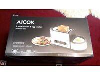 Brand New AICOK 2 Slice Toaster & Egg Cooker