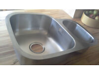 New 1.5 Bowl Kitchen Sink Brushed Stainless Steel RHSB