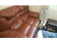Reclining sofa. Brown leather. 2 seater