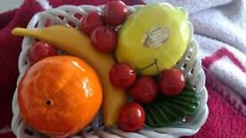 Ceramic bowl with hand made fruits