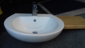 BASIN / SINK SEMI RECESSED c/w mixer tap and drainer. 1 Year old
