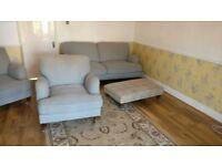 4 piece sofa set (2seater, 1armchair, 1armchair plus footstool)