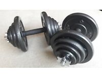 BODYMAX DELUXE HAMMERTONE 40KG CAST IRON DUMBBELL WEIGHTS SET