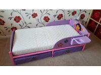 Dora The Explorer Toddler Bed with underbed storage & shelf + mattress 70x140cm