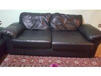 3 & 2 Leather Sofa Black
