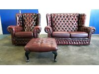 CHESTERFIELD LEATHER SET 2 SEATER SOFA / SUITE / SETTEE CHAIR / ARMCHAIR & FOOTSTOOL CAN DELIVER