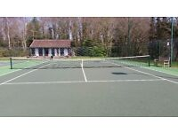 Full size tennis net with posts in good condition