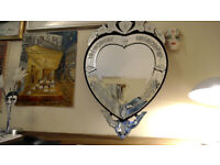Beautiful, feminine, ornate heart shaped mirror -cost £ 90, will sell for £ 45 , no offers