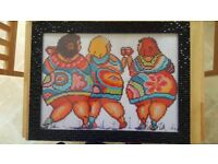 5D Diamond painting of 3 fat chicks, framed
