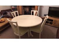 Shabby Chic Round Cream Dining Table and 4 Chairs