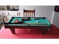 Table top mini pool table (3ft x 1.9 inches) and accessories -great for wet days in summer holidays