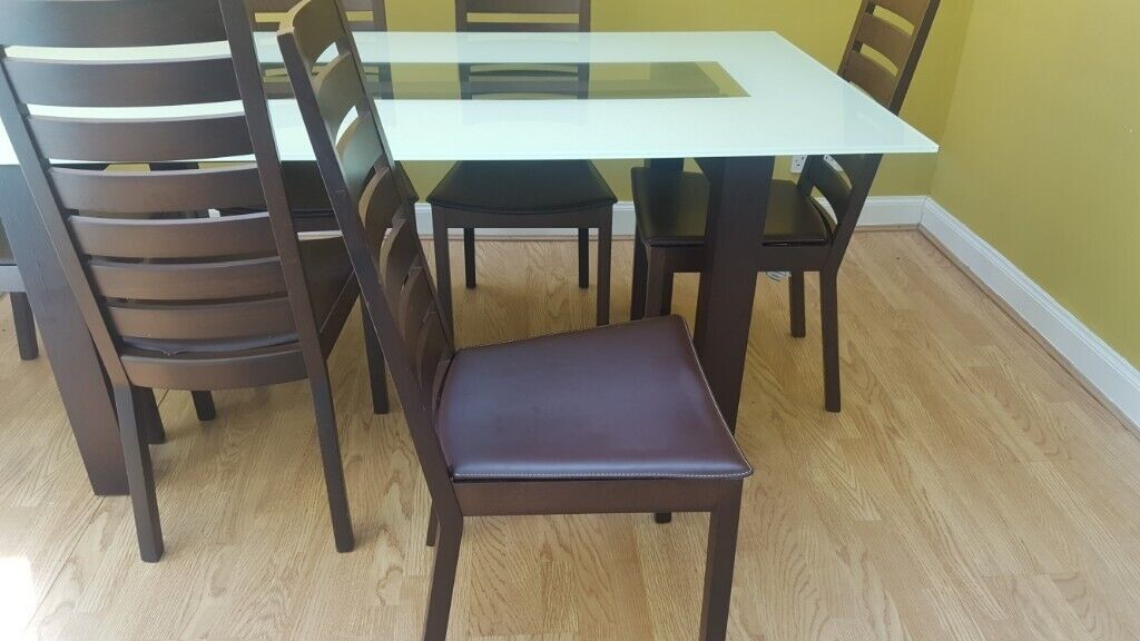 Superb Pending Dark Wood And Glass Dining Table And 6 Chairs In Onthecornerstone Fun Painted Chair Ideas Images Onthecornerstoneorg