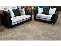 THE GLAMOUR 2 TONE CRUSH VELVET GLITZ CRYSTAL SOFA BUY 3 SEATER £399 GET 2 SEATER FREE !! BRAND NEW