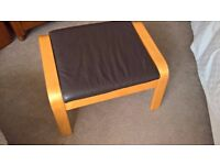 Ikea Brown Leather Poang Footstool