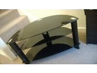 Black Glass TV Stand - Sleak Design - Cable Holes - 3 Levels - AVAILABLE NOW