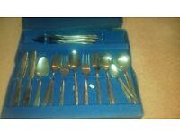 "BOXED SET OF CUTLERY - ""THE CRANBROOK COLLECTION"" - LEAF DESIGN - FULL SET - EXCELLENT CONDITION"