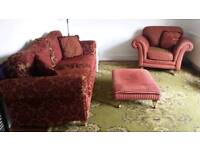SOLD Sofa 3 seater arm chair with stool