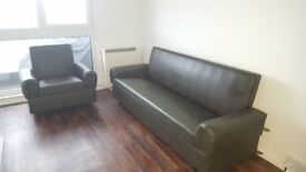 Brown sofa with arm chair