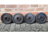 4 x 5KG OLYMPIC CAST IRON WEIGHT PLATES
