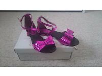 Topshop funky full leather bow sandals in metallic pink, UK 5/38