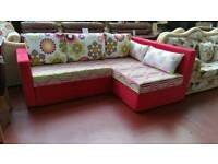 Corner Sofabed 1960s Inspired Funky Retro Design with Gas Lift Storage Space