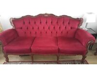 Pretty Louis XV style sofa settee and pair armchairs