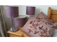 Bedside lamps, ceiling pendant and pair cushions