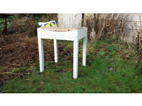 White bathroom stool with cork top