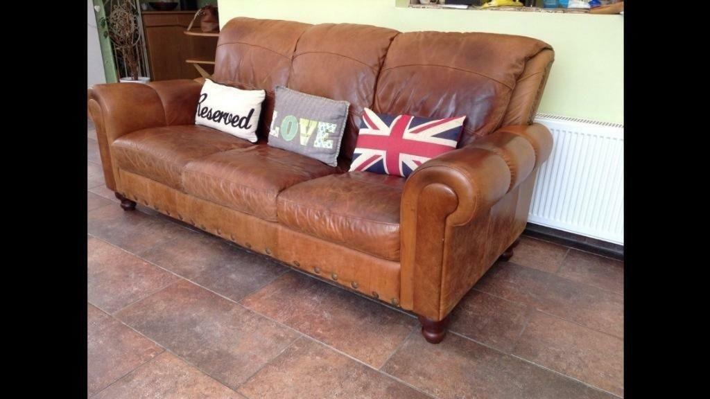 Three Seater Distressed Tan Vintage Sofa Settee Ranch