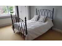 Cast iron double bed and mattress for sale