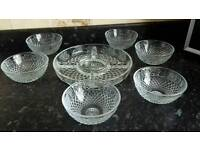 Beautiful glass 5 section dish with 6 bowls