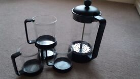 Bodum cafetiere and cups