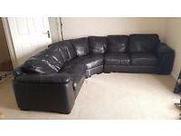 Sofa black leather L shape good condition