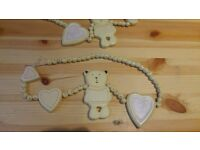 mamas and papas teddy bear and heart wooden curtain tie backs