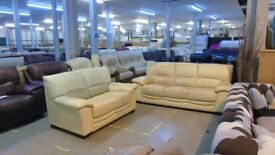 PRE OWNED 3 seater + 2 seater in Cream Leather
