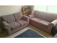 Two grey/brown sofas (two and three seaters)