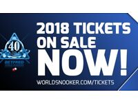 World Snooker Championship Tickets 2018 **Semi Final/Final** Tickets Great Seats