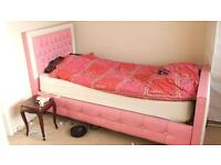 Pink Single Bed with Mattress and Bedding