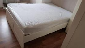 IKEA White Satin Wood BRIMNES Bed Frame Queen Size (only £29.00 collection) flat packed