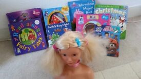 Toys bundle- puzzles, styling head, games, books, party/ballet skirt