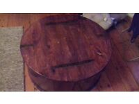 Large rpund coffee table with storage