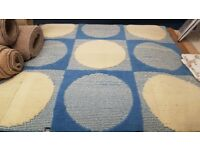 Blue & Cream Circle Washable Non Slip Rubber Backed Rug
